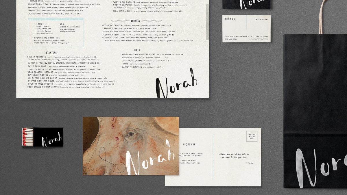 Norah Restaurant Brand Collateral Design by Colony