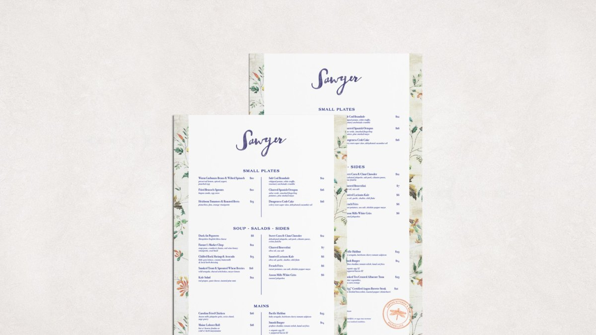 Sawyer Restaurant Menu Design by Colony